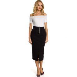 Spódniczki: Czarna Spódnica Ołówkowa Midi z Ozdobnym Suwakiem