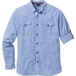 Koszula z lnem, długi rękaw bonprix niebieski melanż. Niebieskie koszule męskie na spinki bonprix, m, melanż, z bawełny, z długim rękawem. Za 109,99 zł.