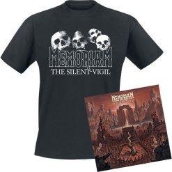 Memoriam The silent vigil CD + T-Shirt standard. Czarne t-shirty damskie Memoriam, l, z bawełny, z klasycznym kołnierzykiem. Za 121,90 zł.