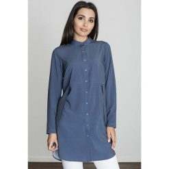 Bluzki, topy, tuniki: Granatowa Koszula -Tunika Zapinana Na Zatrzaski