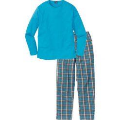 Piżama bonprix turkusowy w kratę. Niebieskie piżamy męskie bonprix, l. Za 69,99 zł.