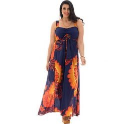 Odzież damska: Sukienka w kolorze granatowo-pomarańczowo-żółtym
