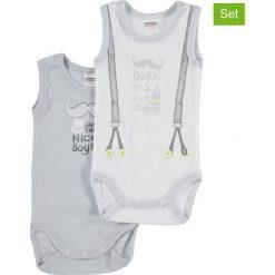 Body niemowlęce: Body (2 szt.) w kolorze szaro-białym