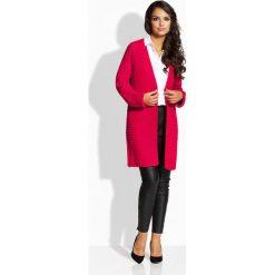 Swetry damskie: Malinowy Elegancki Długi Kardigan bez Zapięcia