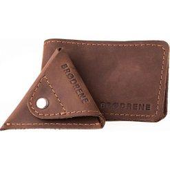 2 w 1 Portfel Slim Wallet + bilonówka BRODRENE Ciemny brąz. Czarne portfele męskie marki Brødrene, w paski, ze skóry. Za 119,00 zł.