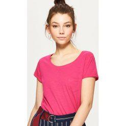 Bluzki, topy, tuniki: Gładka koszulka z kieszenią - Różowy