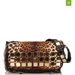 Torebki klasyczne damskie: Skórzana torebka w kolorze brązowo-czarnym – 48 x 25 x 15 cm