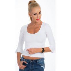 Bluzki damskie: Biała krótka bluzka 21236