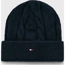 Tommy Hilfiger - Czapka. Czarne czapki zimowe męskie marki TOMMY HILFIGER, z bawełny. Za 159,90 zł.