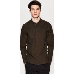 Koszule męskie: Gładka koszula – Khaki