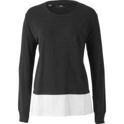 Bluzy rozpinane damskie: Bluza dresowa z koszulową wstawką bonprix czarny
