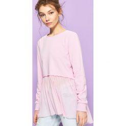 Bluzy rozpinane damskie: Bluza z łączonych tkanin - Fioletowy