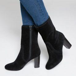 Skórzane kozaki na obcasie. Brązowe buty zimowe damskie La Redoute Collections, z materiału, z okrągłym noskiem, na obcasie. Za 500,64 zł.