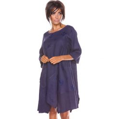 """Sukienki asymetryczne: Lniana sukienka """"Cerise"""" w kolorze granatowym"""