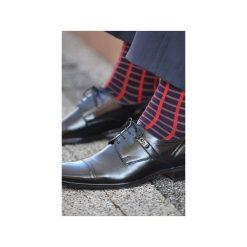 Skarpety w czerwoną kratkę. Czerwone skarpetki męskie 4lck, w kolorowe wzory. Za 29,00 zł.