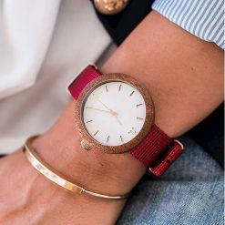 Zegarek Neat Zegarek damski New Hoop drewniany sapelli biało-złoty II 38mm. Białe zegarki damskie Neat, złote. Za 324,00 zł.
