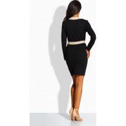 Prosta sukienka z kontrastującą lamówką czarna-beżowy ANGELA. Czarne długie sukienki Lemoniade, na co dzień, w paski, eleganckie, z klasycznym kołnierzykiem, z długim rękawem. Za 104,90 zł.