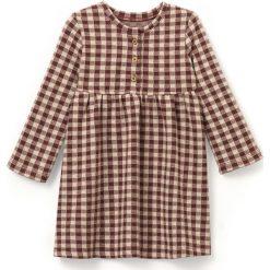Sukienka w kratę 1-36 m-cy. Szare sukienki dziewczęce marki La Redoute Collections, z elastanu, z długim rękawem, długie, maxi. Za 52,46 zł.
