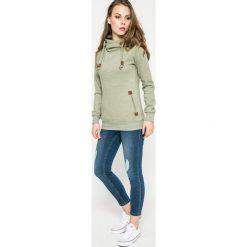 Noisy May - Jeansy. Niebieskie jeansy damskie rurki marki Noisy May, z aplikacjami, z bawełny, z obniżonym stanem. W wyprzedaży za 89,90 zł.
