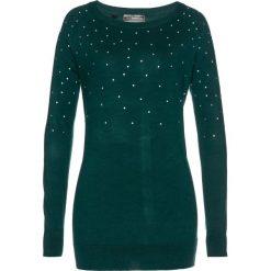 Sweter bonprix głęboki zielony. Zielone swetry klasyczne damskie bonprix, z materiału. Za 54,99 zł.