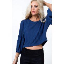 Krótka bluzka z prążkowanego materiału ciemnoniebieska 21791. Niebieskie bluzki na imprezę Fasardi, m, prążkowane, z krótkim rękawem. Za 39,00 zł.
