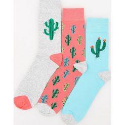 Kapcie męskie: 3 pack skarpet w kaktusy – Pomarańczo