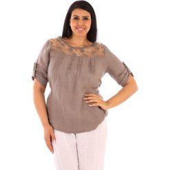 """T-shirty damskie: Lniana koszulka """"Majorque"""" w kolorze szarobrązowym"""