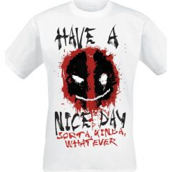 Deadpool Smiley T-Shirt biały. Białe t-shirty męskie z nadrukiem Deadpool, xl, z okrągłym kołnierzem. Za 74,90 zł.