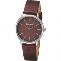 """Zegarek kwarcowy ''""""Ribbon""""'' w kolorze bordowo-srebrnym. Czerwone, analogowe zegarki damskie METROPOLITAN, metalowe. W wyprzedaży za 99,95 zł."""
