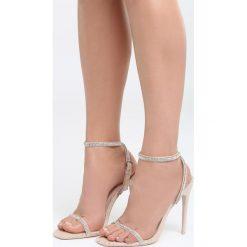 Beżowe Sandały After Dark. Brązowe sandały damskie marki Born2be, z materiału, na wysokim obcasie, na obcasie. Za 44,99 zł.
