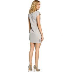 Mini sukienka - tunika ze złotymi ćwiekami - szara - 2