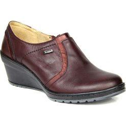 Buty ślubne damskie: Półbuty damskie na koturnie skórzane wiśniowe Helios 333