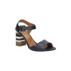 Rzymianki damskie: Sandały Casu  Granatowe sandały skórzane z ozdobnym szerokim obcasem  CAS005