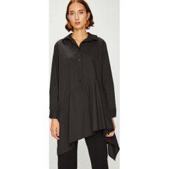 Answear - Koszula. Czarne koszule damskie ANSWEAR, s, z bawełny, casualowe, z asymetrycznym kołnierzem, z długim rękawem. W wyprzedaży za 99,90 zł.