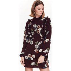 SUKIENKA DAMSKA W KWIATY. Brązowe sukienki balowe Top Secret, na jesień, w kwiaty, dopasowane. Za 149,99 zł.