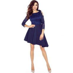 NATALIA  asymetryczna sukienka z koronkową górą GRANAT. Niebieskie długie sukienki Bergamo, w koronkowe wzory, z koronki, eleganckie, z asymetrycznym kołnierzem, z długim rękawem, asymetryczne. Za 259,99 zł.