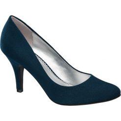 Szpilki damskie Graceland niebieskie. Czarne szpilki marki Born2be, z materiału, na wysokim obcasie, na obcasie. Za 79,90 zł.