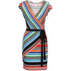 Sukienki: Sukienka w paski bonprix pomarańczowo-czerwono-niebieski w paski