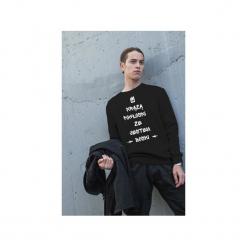 Czarna męska bluza raglan jestem boski. Czarne bluzy dresowe męskie One mug a day, m, z nadrukiem. Za 129,00 zł.