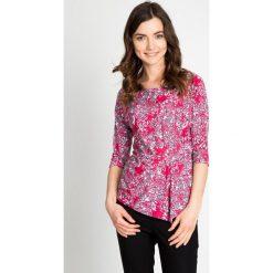 Bluzki damskie: Malinowa bluzka w biały wzór QUIOSQUE