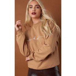 NA-KD Trend Bluza Chest Branded - Beige. Brązowe długie bluzy damskie marki NA-KD Trend, z materiału. Za 161,95 zł.