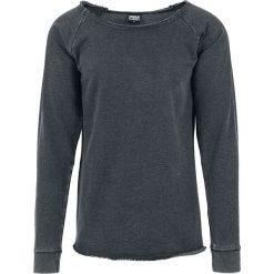 Urban Classics Long Burnout Open Edge Crewneck Bluza ciemnoszary. Niebieskie bluzy męskie marki Urban Classics, l, z okrągłym kołnierzem. Za 99,90 zł.