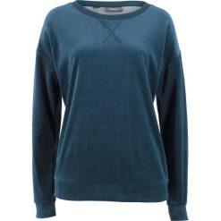 Bluza z dzianiny welurowej nicki bonprix ciemnoniebieski. Niebieskie bluzy damskie bonprix, z dzianiny. Za 74,99 zł.