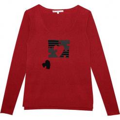 Sweter kaszmirowy w kolorze czerwonym. Czerwone swetry klasyczne damskie marki Ateliers de la Maille, z kaszmiru, z okrągłym kołnierzem. W wyprzedaży za 500,95 zł.