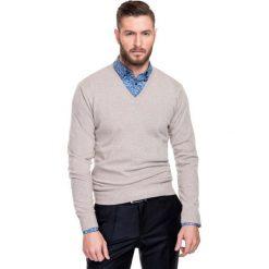 Sweter FABRIZIO SWER000111. Niebieskie swetry klasyczne męskie marki Giacomo Conti, m, z tkaniny, klasyczne. Za 229,00 zł.