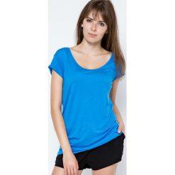Bluzki damskie: Bluzka z głębokim dekoltem z tyłu niebieska