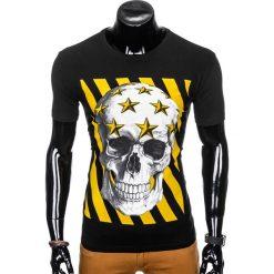 T-shirty męskie: T-SHIRT MĘSKI Z NADRUKIEM S980 - CZARNY