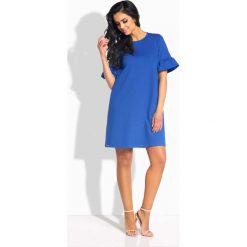 Chabrowa Sukienka o Linii A z Rękawami z Falbanką. Niebieskie sukienki mini marki bonprix, na spacer, na lato, w koronkowe wzory, z bawełny, dopasowane. Za 91,90 zł.