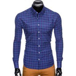 KOSZULA MĘSKA W KRATĘ Z DŁUGIM RĘKAWEM K425 - GRANATOWA. Brązowe koszule męskie marki Ombre Clothing, m, z aplikacjami, z kontrastowym kołnierzykiem, z długim rękawem. Za 59,00 zł.