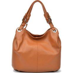 Skórzana torebka w kolorze koniaku - (S)32 x (W)45 x (G)12 cm. Brązowe shopper bag damskie Carla Ferreri, z materiału. W wyprzedaży za 289,95 zł.